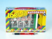 Lori Stavebnice LORI 11 Autoškola 16 značek + 2 kužely + 1 auto plast v krabici 22x13x6cm