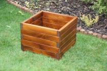Zahradní nábytek Liška Zahradní dřevěný květináč střední bez povrchové úpravy