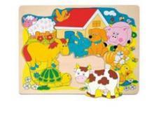 Woody Puzzle na desce Veselá domácí zvířátka