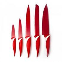 VETRO-PLUS Sada nožů SYMBIO Rosso 5 dílná, s nepřilnavým povrchem