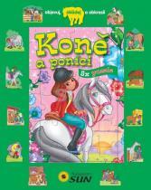 Koně a poníci - 8 puzzle - Objevuj skládej a obkresli