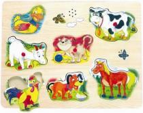 Hrací puzzle na desce - zvířecí hlasy
