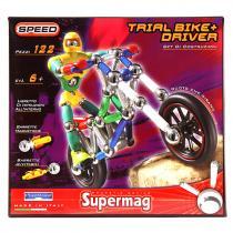 Supermag Magnetická stavebnice Speed motorka s řidičem, 122 dílů