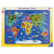 Ravensburger Mapa světa se zvířaty, 30 dílků
