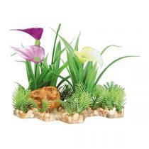 TRIXIE plastová rostlina s květy na podstavci 13 cm