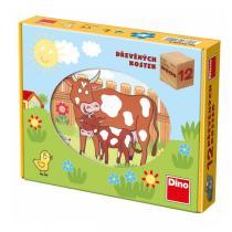 DINO 641204 - Obrázkové kostky 12 ks - domácí zvířátka