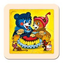 Bino 13203 - Dřevěné puzzle Baribal s dortem