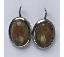 Čistín Stříbrné náušnice, přírodní sluneční kámen, NK 1454