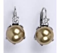 Čistín Stříbrné náušnice se swarovski perlou bronze 10 mm, NK 1190