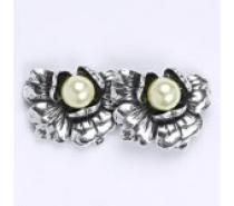 Čistín Stříbrné náušnice s umělou perlou bílou 6 mm, NŠ 1010