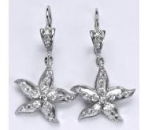 Čistín Stříbrné náušnice se zirkony,hvězda, NK 1424