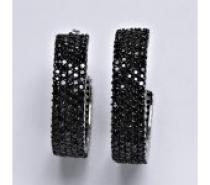 Čistín Stříbrné náušnice s černými zirkony,kruhy, 20,81 g