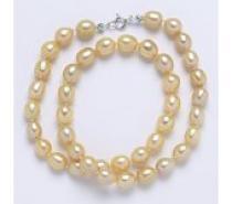 Čistín Perly přírodní říční 43 cm 9x7 mm lososová, stříbrný náhrdelník
