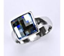 Čistín stříbrný prsten, krystal Swarovski Akvamarin T 1305