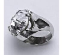 Čistín stříbrný prsten se Swarovski čirým krystalem 16 x 16 mm, T 1459