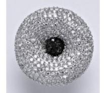Čistín stříbrný prsten s čirými a černými zirkony, 14,05 g