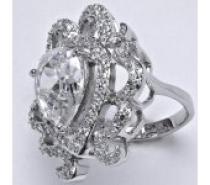 Čistín stříbrný prsten, syntetický čirý zirkon, 10,21 g