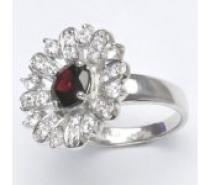 Čistín stříbrný prsten, přírodní granát 9,71 g