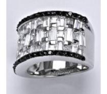 Čistín stříbrný prsten syntetický čirý a černý zirkon, 12,2 g