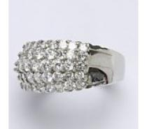Čistín stříbrný prsten s čirými zirkony, 10,14 g
