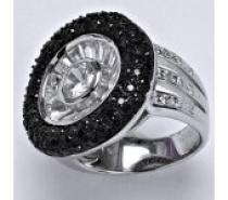 Čistín stříbrný prsten syntetický čirý a černý zirkon, 13,0 g