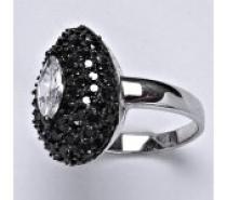 Čistín stříbrný prsten, syntetický čirý a černý zirkon, kapka, 7,5 g
