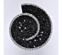 Čistín stříbrný prsten s černými a čirými zirkony, 13,52 g