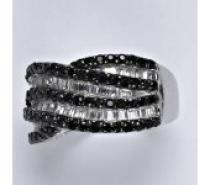 Čistín stříbrný prsten se syntetickými čirými a černými zirkony, 9,37 g