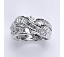 Čistín stříbrný prsten s čirými zirkony, 6,41 g
