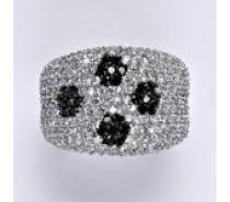 Čistín stříbrný prsten s čirými a černými zirkony, 10,02 g
