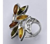 Čistín stříbrný prsten s přírodními jantary 6,30 g
