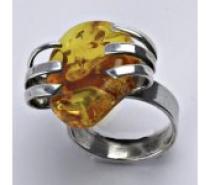Čistín stříbrný prsten s přírodním jantarem, 9,23 g