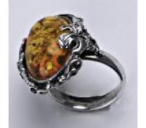 Čistín stříbrný prsten s přírodním jantarem, 7,18 g