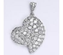 Čistín stříbrný přívěšek se zirkony srdce, 8,62 g