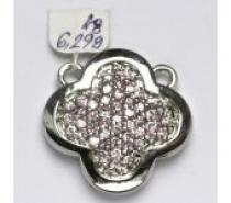Čistín stříbrný přívěsek s růžovými zirkony, 6,29 g