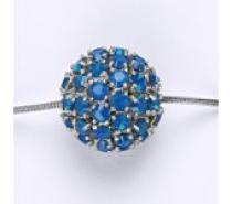 Čistín Koule se Swarovski krystalem celostříbrná 16,5 mm blue opal přívěsek P 1338