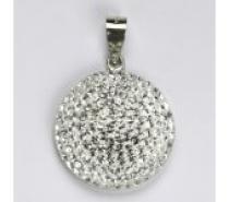 Čistín stříbrný přívěsek půlkoule se Swarovski čirými krystaly 7,58g