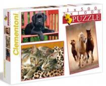 CLEMENTONI 2x1000 + 1x500 dílků - Zvířata 3v1