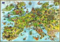 HEYE 4000 dílků - Degano, Draci - Mapa Evropy , Triangular