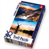 TREFL 1000 + 1000 dílků - Výhled z vrcholku Rysy , Krajina při západu slunce