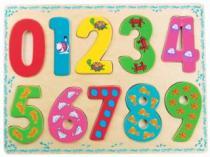 BINO Vkládačka 88109 Číslice s obrázky - Dřevěná dětská vkládačka
