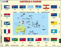 LARSEN 35 dílků - Austrálie a Oceánie: mapa a vlajky