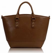LS Fashion Prostorná kabelka - světle hnědá