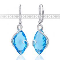 Pretis Diamantové náušnice, bílé zlato briliant, modrý topaz 585/2,85gr