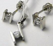Marcello Diamant Zlatá souprava z bílého zlata náušnice + přívěsek se zirkony 585/2,4gr T179