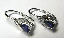 Pretis Luxusní diamantové náušnice s tmavě modrým safírem a diamanty z bílého zlata 1,7