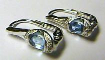 Pretis Diamantové zlaté luxusní náušnice s diamanty 12ks a 2ks Blue topaz 585/2,50gr