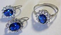 Pretis Luxusní souprava z bílého zlata Kate Middleton s modrým safírem a zirkony 6,4gr