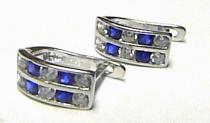 Pretis Dámské módní náušnice z bílého zlata s modrými safíry 585/1,4gr P134