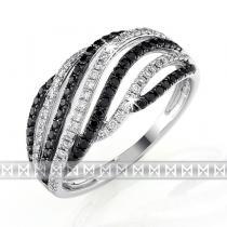 Pretis Luxusní diamantový zlatý prsten s černými a čirými diamanty